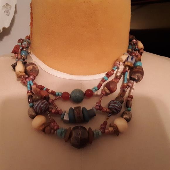 Orange Bib Choker Statement Multi Strand Necklace Handmade Jewelry